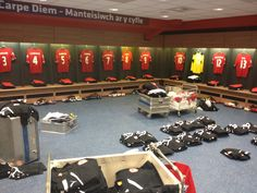 Cardiff City Stadium home changing rooms, setting up for Manchester City