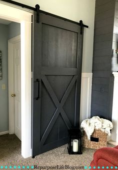 How to build a sliding barn door. An easy to follow step-by-step tutorial.
