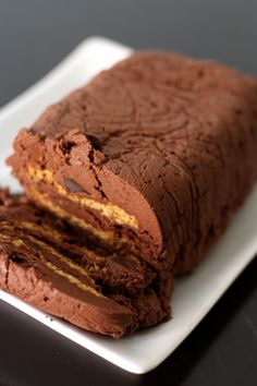 Valrhona chocolate terrine, mascarpone, coffee and biscuit (without cooking) Chocolat Valrhona, Valrhona Chocolate, Chocolate Terrine, Desserts With Biscuits, No Bake Desserts, Dessert Recipes, Cupcakes, Sweet Cakes, No Bake Cake