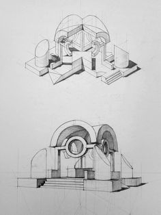 Architecture drawing and sketches