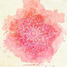 Fondo de esbozo de mandala de acuarela rosa Vector Gratis
