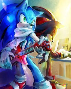 Sonic and Shadow rockin'