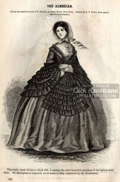 8 Civil War-era dresses for women The Almerian This style, made of heavy black silk, is among the most beautiful novelties of the spring mantillas. No description is required, as its mode is fully explained by the illustration. Victorian Era Fashion, Victorian Gown, Vintage Fashion, Civil War Fashion, Civil War Dress, 19th Century Fashion, Pinterest Fashion, Historical Clothing, Women's Clothing