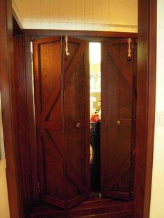 Hand Made Custom Reclaimed Wood Bi-fold Closet Doors for a Luxury Home in Malibu… Barn Door Pantry, Barn Door Closet, Closet Interior, Interior Barn Doors, Indoor Barn Doors, Outdoor Doors, Inside Barn Doors, Rico Design, Folding Doors