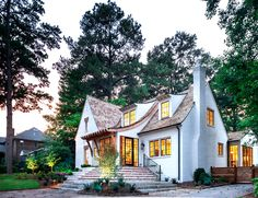 Cottage house interior design exterior traditional with brick stairs shingle roof Modern Farmhouse Exterior, Modern Farmhouse Style, Farmhouse Homes, Cottage Exterior, Plans Loft, Vintage Design, White Houses, Carlisle, Bauhaus