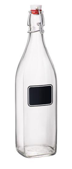 Bormioli Rocco Swing Bottle with Chalkboard, 33-3/4-Ounce // Kombucha Tea (Label with Flavor)