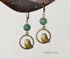 Boucles d'oreille pierre aventurine et oiseau