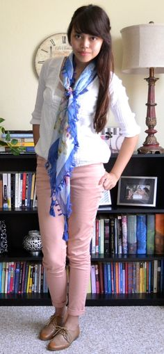 My outfit of the day: You can't ever go wrong with pastel-colored jeans, nude oxfords, and a light scarf for Springtime :)