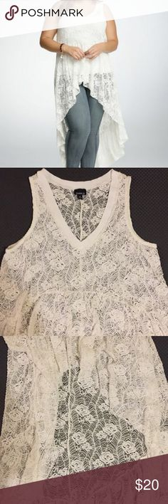 Torrid Hi Lo Lace Vest/Top Brand new never worn beautiful lace vest/blouse from torrid :) size 0, price is negotiable! torrid Tops Tunics