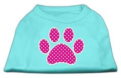 Now available on our store: Pink Swiss Dot Pa... , Check it out here : http://www.allforourpets.com/products/pink-swiss-dot-paw-screen-print-shirt-aqua-xxxl-20