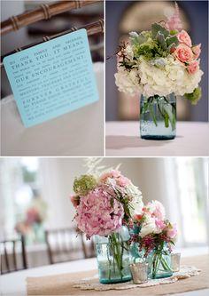blue mason jar floral arrangements