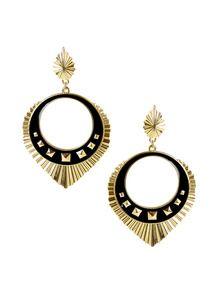 Belle Noel Palladium & Black Open Circle Burst Drop Earrings