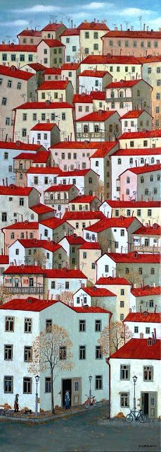 City Illustration by Zviad Gogolauri City Illustration, Naive Art, Home Art, Art Drawings, Illustrations, Artist, Artwork, Prints, Pictures