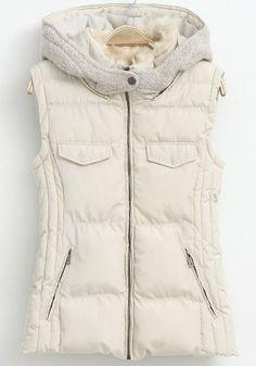 Beige Plain Zipper Sleeveless Vest