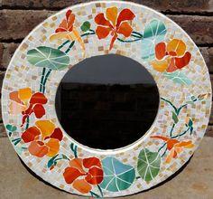 Glass mosaic nasturtium border on round mirror. Mosaic Tray, Mirror Mosaic, Mosaic Wall, Mosaic Glass, Stained Glass Birds, Stained Glass Panels, Stained Glass Patterns, Mosaic Patterns, Mosaic Crafts