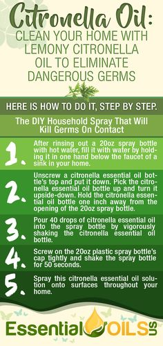 Citronella essential oil has the ability to kill household germs that can be harmful to one's health. Citronella essential oil also has anti-fungal properties that can eliminate mold around the home. Plus, the lemony scent of citronella masks odors and gives the home a pleasing aroma.