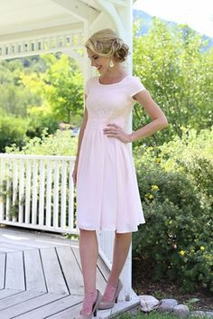 """Isabel"" Modest Dress in Light Pink http://www.jenclothing.com/mi-mds001-isabel-ltpnk.html"