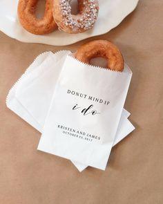 Donut Favor Bags, Doughnut Sacks, Wedding Dessert Table, Bridal Shower, Donut Mind If I Do - Personalized - Lined, Grease Resistant by NottinghamPaperGoods on Etsy https://www.etsy.com/listing/553365189/donut-favor-bags-doughnut-sacks-wedding