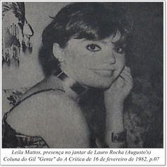 """Leila Mattos. Coluna do Gil """"Gente"""" do A Crítica de 16 de fevereiro de 1982."""