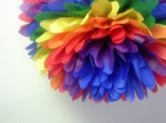 rainbow party pom poms