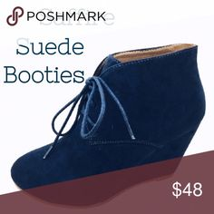 """Saffire Suede Lace Up Booties Right on trend this season lace up faux suede wedge booties. In a gorgeous saffire blue. Be in style this fall/winter with a fabulous pop of color to demin, leggings, skinny pants, skirts or dresses. 2.5"""" heel. Threads & Trends Shoes Ankle Boots & Booties"""