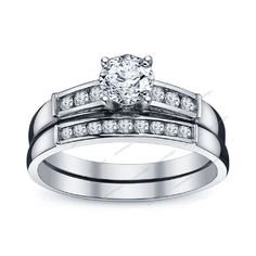1.50 Carat Round Cut Diamond 925 Silver Bridal Ring Set With Channel Setting 5 6 #aonedesigns