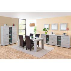 Salle à manger complète contemporaine THELIO coloris chêne gris + ...