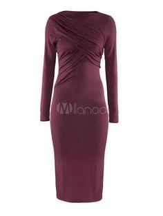 Purple Bateau Neck Long Sleeves Ruffled Modal Bodycon Dress For Women - Milanoo.com