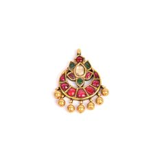 Shop Ruby, Emerald with Uncut #Diamond Antique #Pendant Online at Gehna in India for #Valentine'sDayGift.