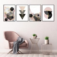 A stunning set of 4 downloadable geometric prints in blush pink, grey and black with gold accents. #blushpink #pinkblackgold #printableart #setof4 #geometricprints #pinkgreybedroom #pinkbedroomideas #urbanepiphany Black And Grey Bedroom, Black Walls, Pink Office Decor, Art Deco Colors, Blush Pink, Pink Grey, Black Interior Design, Geometric Prints, Pink Bedrooms