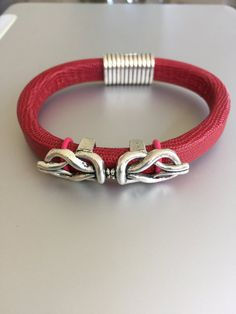 Silver Design on Red Leather by joytoyou41 on Etsy