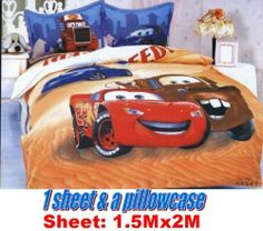2 items Disney car mcqueen family a cover blanket Sheet & a pillowcase for single or full bed by newnews. $43.00. Material: 60 Yarn Count 600 TC 100% Cotton Reactive Dyes printing   Stylish Design; Fiber reactive dye   The best dye for cotton compare with all-purpose dyes?   Healthier for the skin. Softer than all-purpose dyes. Colors much brighter and vivid and Long-lasting.   Wash: machine washable - No dry cleaning - Use mild soap - No bleach - Cool iron if required. Plea...