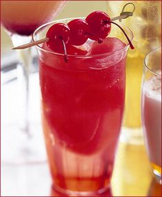 Cherry Bomb (non-alcoholic!): 1 cup grenadine to 2 cups water, mixed and frozen, served with tonic water or something sparkling and cherry garnish.