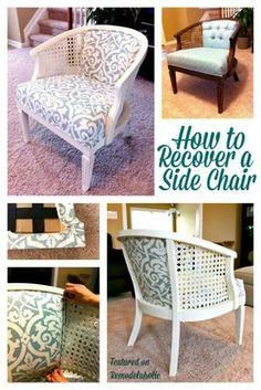 Remodelaholic | Cane Chair Reupholster DIY
