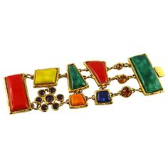 Christian Lacroix Stunning Vintage Multicolored Ceramic Cuff Bracelet | From a unique collection of vintage cuff bracelets at https://www.1stdibs.com/jewelry/bracelets/cuff-bracelets/