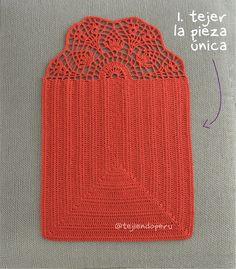 Crochet Clutch Pattern, Crochet Motif, Crochet Designs, Crochet Doilies, Knit Crochet, Crochet Patterns, Crochet Bag Tutorials, Crochet Stitches For Beginners, Crochet Basics