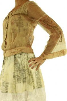 Short jacket shirt 49602 beige/apricot Elisa Cavaletti