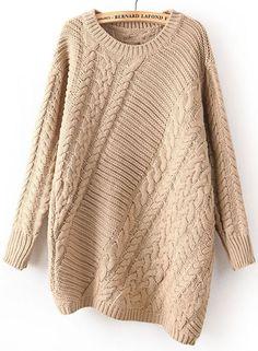 Khaki Long Sleeve Asymmetrical Cable Knit Sweater
