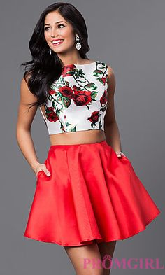 Two Piece Floral Print Bodice Circle Skirt Dress - Two Piece Homecoming Dress, Red Homecoming Dresses, Hoco Dresses, Prom Party Dresses, Dresses For Teens, Dance Dresses, Ball Dresses, Cute Dresses, Girls Dresses