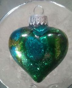 Heart Glass Christmas Ornament with Alcohol Ink