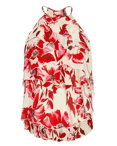 Exclusive for Intermix Essex Silk Print Top: Silk prints are so pretty and we are all about our exclusive. Tiered ruffle bodice. Sleeveless. In red azaleas. Fabric: 100% silk Made in China. Model Measurements: Height 5'10 1/2; Waist 24 ; Bust 31 wearing size S Length from shoulder to hem: ...