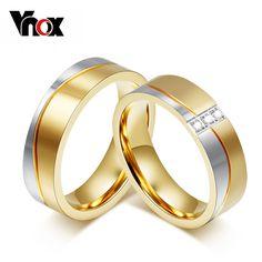 Vnox anillos de boda para las mujeres/de los hombres amantes de oro elegante joyería promesa