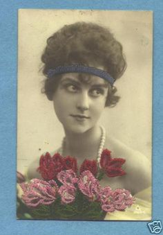 Embroidered Silk Postcard of Woman with Flowers