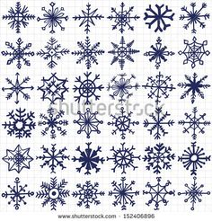 hand-drawn snowflakes set - stock vector