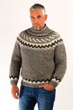 Hand knitted from 100% Icelandic natural unspun wool yarn Design inspired by the Icelandic traditional hand knitted fisherman's sweaters