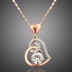 Rose Gold Diamond Heart Pendant Necklace