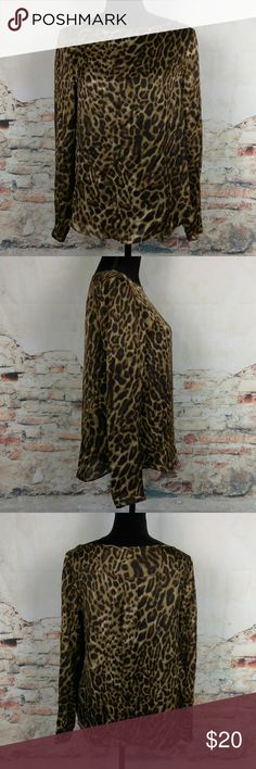 Ralph Lauren Sz 6 Silk Leopard Animal Blouse Lauren Ralph Lauren Sz 6 100% Silk Leopard Animal Print Long Sleeve Blouse Top Ralph Lauren Tops Blouses