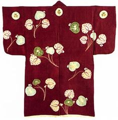 Haori: Jacket , design of aoi leaves with aoi crests in tsujigahana dyeing on purple ground, silk.  Momoyama-Edo period, 16-17th century.  Worn by First Shogun Tokugawa Ieyasu.