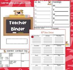 teacher binder freebies at Learning Ahoy!  http://learningahoy.blogspot.com/2012/07/teacher-binder-freebie.html