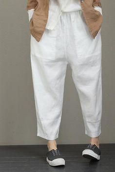 Women Casual Linen Pencil Pants Loose Trousers Q2011